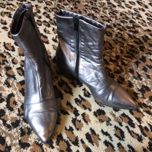 Silver pewter leather ankle boots